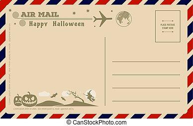 Vintage Halloween Postcard. Vector illustration.