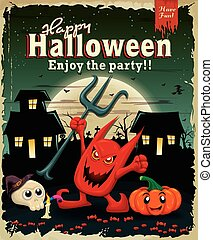 Vintage Halloween poster design wit