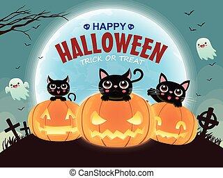 Vintage Halloween poster design with vector cat, pumpkin character.