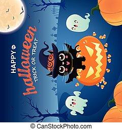 Vintage Halloween poster design with vector cat, pumpkin, ghost character.