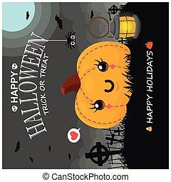 Vintage Halloween poster design with vector pumpkin, spider, bat character.