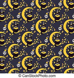 Vintage Halloween vector seamless pattern