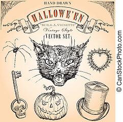 Vintage Halloween Vector Set - Hand-drawn elements to...
