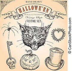 Vintage Halloween Vector Set - Hand-drawn elements to...