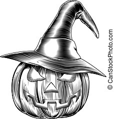 An illustration of a Halloween pumpkin wearing a witch hat in a retro vintage woodblock or woodcut etching style