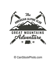 Vintage hand crafted label. Mountain expedition, outdoor adventure badge with climbing symbols and typography design. Stock Vector isolated on white background. Monochrome