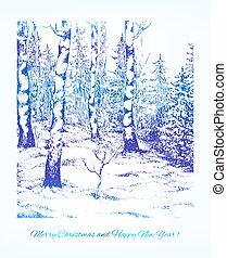 Vintage hand darwn landscape. Vector card for Your Christmas design