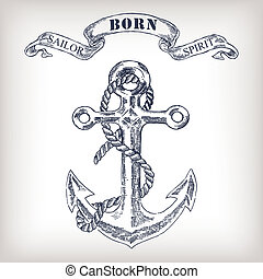 Vintage Hand Drawn Anchor and Ribbon Illustration old style