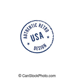 Vintage hand drawn authentic grunge stamp. Retro blue patch. Authentic retro design quote. Old style patch print template. Stock emblem, label isolated on white background