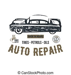 Vintage hand drawn auto repair t shirt design. Classic car poster with typography. Auto industry tee. Retro style poster with grunge background. Old car logo, emblem template. Stock vector patch