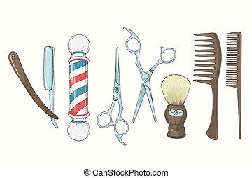 Vintage Hand drawn Barber Shop set in sketch style. Razor, scissors, shaving brush,  comb, classic barber shop Pole. Vector illustration