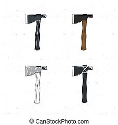 Vintage hand drawn camp axes collection. Silhouette, color, outline styles. Old sketch design. Stock vector illustration isolated on white background