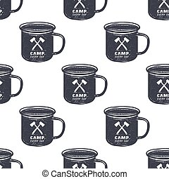 Vintage hand drawn camp mug, pattern design. Camping seamless wallpaper with cup, typography sign. Monochrome retro design. Vector illustration. Use for fabric printing, web projects, t-shirts.