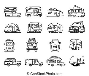 Vintage hand drawn camper recreational trailers, Rv cars icons. Simple line art graphics. Camping vehicles vans and caravans symbols. Stock vector isolated
