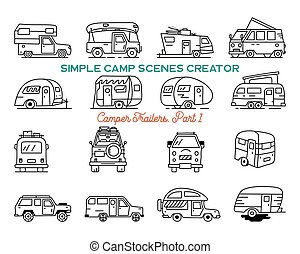 Vintage hand drawn camper recreational trailers, Rv cars icons. Simple line art graphics elements. Camping vehicles vans and caravans symbols. Stock vector isolated.