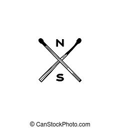 Vintage hand drawn camping adventure crest logo. Matches icons, symbols. Retro monochrome design. Can be used for t shirts, prints. Stock vector symbols isolated on white background