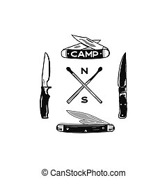 Vintage hand drawn camping adventure icons. Hiking shapes - matches and knifes. Retro monochrome design. Can be used for t shirts, prints. Stock vector symbols isolated on white