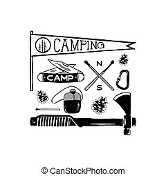 Vintage hand drawn camping adventure shapes. Hiking symbols - pennant, knife, matches, axe and others. Retro monochrome design. Can be used for t shirts, prints. Stock vector isolated on white