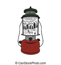 Vintage hand drawn Camping Lantern Emblem. Mountain adventure inside. Camp T-shirt. Funny hiking concept for tee. Perfect for any adventurer, wanderlust lovers or hikers. Stock vector.