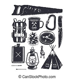 Vintage hand drawn camping symbols. Hiking icons in retro monochrome style. Silhouette mountain adventure elements. Perfect for logo creation, infographics. Stock vector