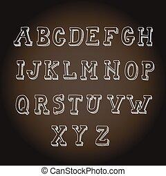 Vintage hand drawn decorative alphabet on blackboard