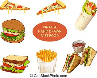Vintage hand drawn fast food, VECTOR set of colored sketches