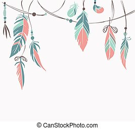 Vintage hand drawn feathers and beads on white background. ...