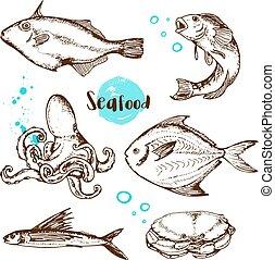 Vintage hand drawn fish
