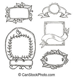 vintage hand drawn frames collection
