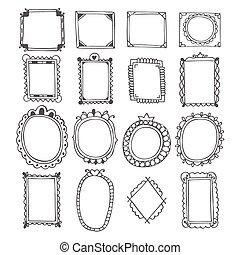 Vintage hand drawn frames. Doodle set of design elements