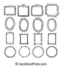 Vintage hand drawn frames in vector. Doodle set of design elements