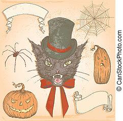 Vintage Hand Drawn Halloween Cat