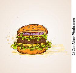 Vintage hand drawn hamburger