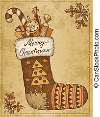 Vintage hand drawn ?hristmas card sock with gifts