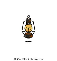 Vintage hand drawn lantern concept. Perfect for logo design, badge, camping labels. Retro colors. Symbol for outdoor activity emblems. Stock vector illustration isolated on white background
