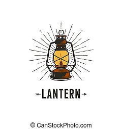 Vintage hand-drawn lantern concept. Perfect for logo design, badge, camping labels. Retro colors. Symbol for outdoor activity emblems. Old style. Stock vector illustration isolated on white background