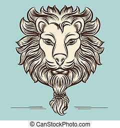 Vintage hand drawn lion print design