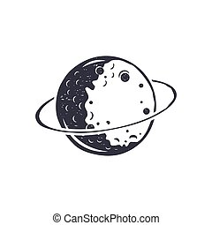 Vintage hand drawn moon symbol. Silhouette monochrome moon icon. Stock vector illustration isolated on white background. Retro design pictogram.