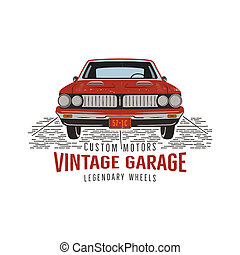 Vintage hand drawn muscle car. Retro red american auto symbol design. USA Classic automobile emblem isolated on white background. Stock