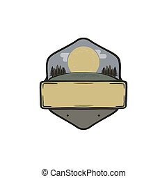 Vintage hand drawn national park badge, patch concept. Blank template. Paste your own texts. Camping adventure thematic. Stock isolated on white background
