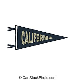 Vintage hand drawn pennant template. California sign. Retro textured, letterpress effect. Outdoor adventure, retro colors style. Vector isolated on white background