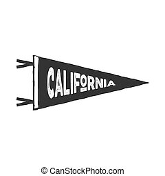 Vintage hand drawn pennant template. California sign. Retro textured, letterpress effect. Outdoor adventure, monochrome retro style. Vector isolated on white background