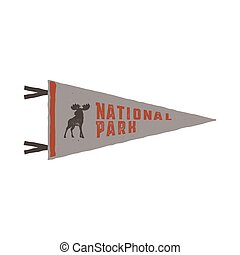 Vintage hand drawn pennant template. Camping sign. Retro textured, letterpress effect. Outdoor adventure retro palette style. Vector isolated on white background. National park sign and moose