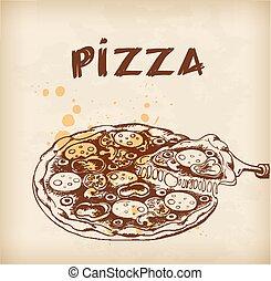 Vintage hand drawn pizza