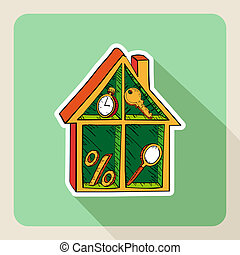 Vintage hand drawn real estate house business icons. -...