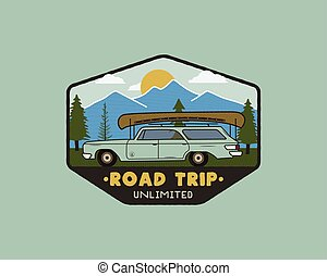 Vintage hand drawn road trip logo patch with carriding through the mountains landscape and quote - Road trip unlimited. Old style outdoors camping emblem in retro style for prints. Stock vector.