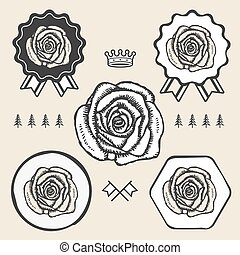 Vintage hand drawn rose logo emblem sign