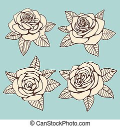 Vintage hand drawn roses with leaves vector design