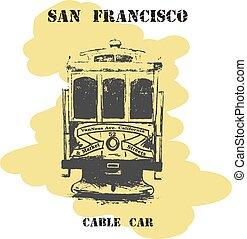 Vintage hand drawn San Francisco cable car.