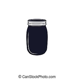 Vintage hand drawn silhouette jar symbol. Cute monochrome style. Stock vector illustration isolated on hiwte background